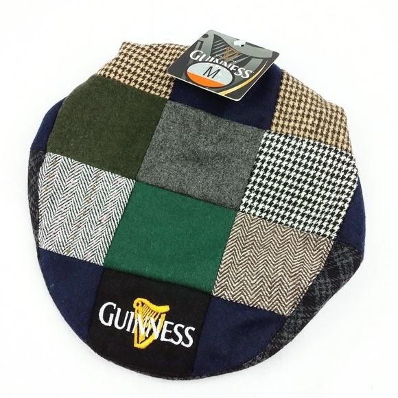 748db3cc337 Guinness Beer Patchwork Tweed Flat Cap Snap Brim